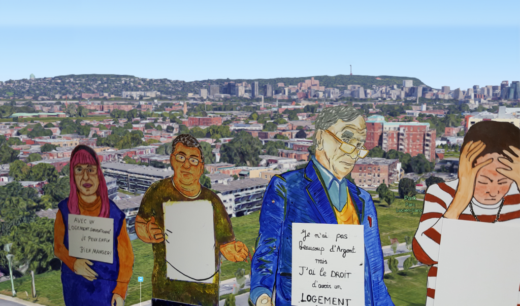 quatre figurines devant Gaétan-Laberge